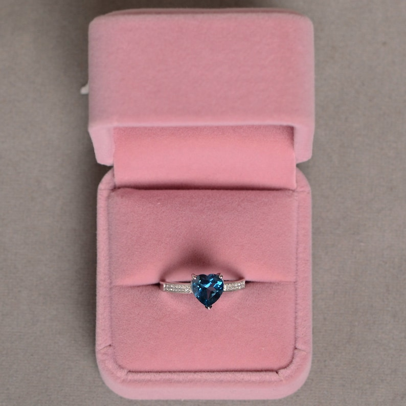 London Blue Topaz Ring Gemstone Ring Heart Cut Sterling Silver Promise Ring