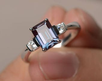 Emerald Cut Alexandrite Promise Ring June Birthstone Solid Silver Color Changing rectangle ring