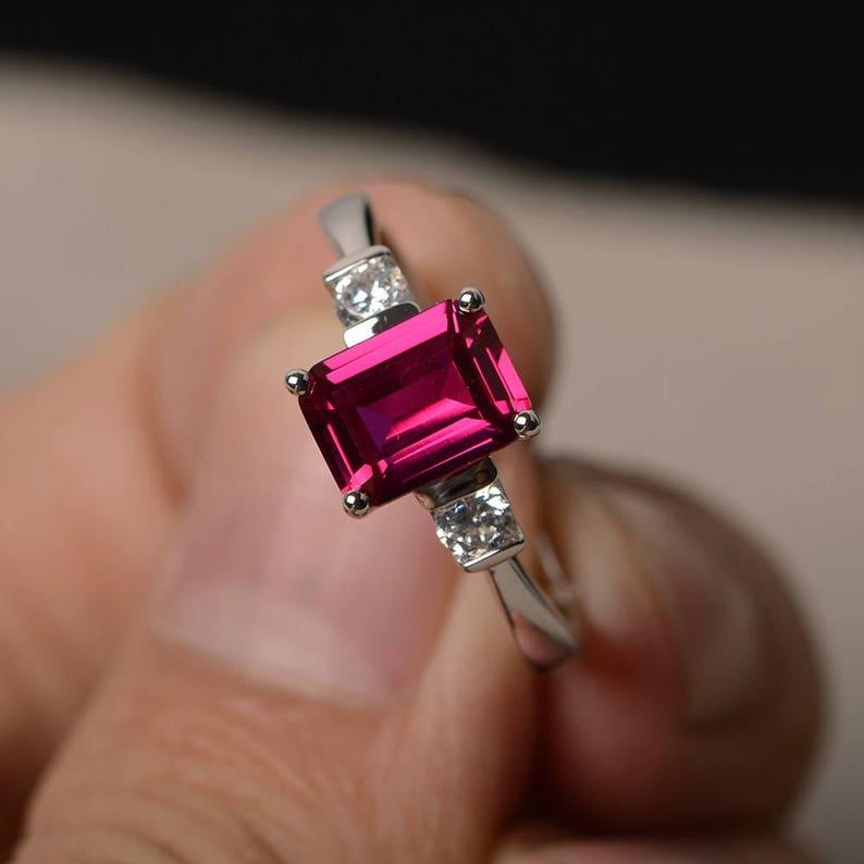 Anniversary Ring Ruby Ring July Birthstone Ring Red Gemstone Ring Sterling Silver Ring Pear Cut Gemstone