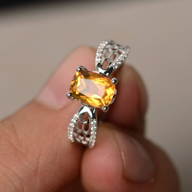 Real Natural Citrine Rings Engagement Rings Cushion Cut Rings Yellow Gemstone Rings Solid Silver Rings