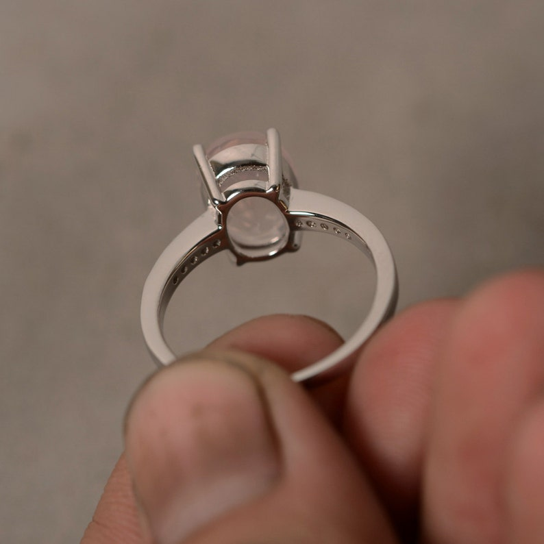Natural Pink Quartz Ring Oval Ring Sterling Silver Ring Gemstone