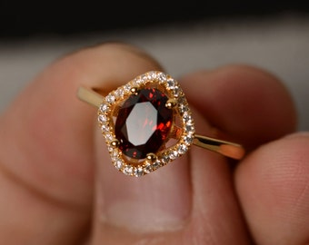 Garnet Ring Yellow Gold Plated Silver Engagement Ring Oval Cut Garnet