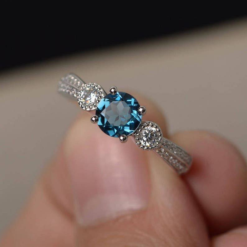 Unique Engagement Rings Real London Blue Topaz Rings November Birthstone Round Cut Blue Stone Rings Silver Ring
