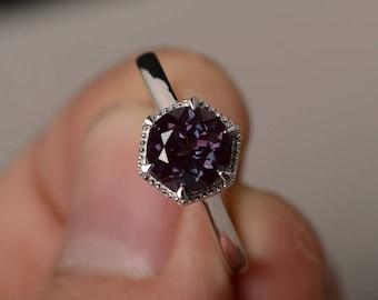 Lab Alexandrite Ring Round Cut Engagement Ring Silver Gemstone Ring