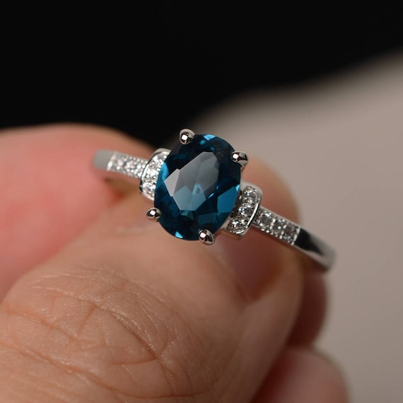 London Blue Topaz Engagement Ring Sterling Silver Ring