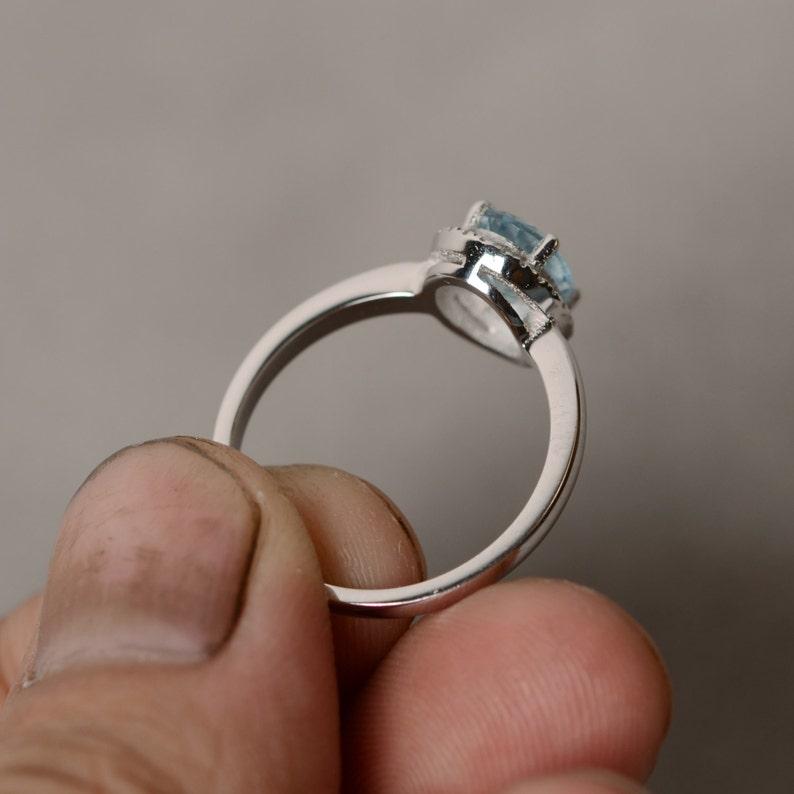 March Birthstone Ring Aquamarine Ring Oval Ring Gemstone Ring Natural Aquamarine