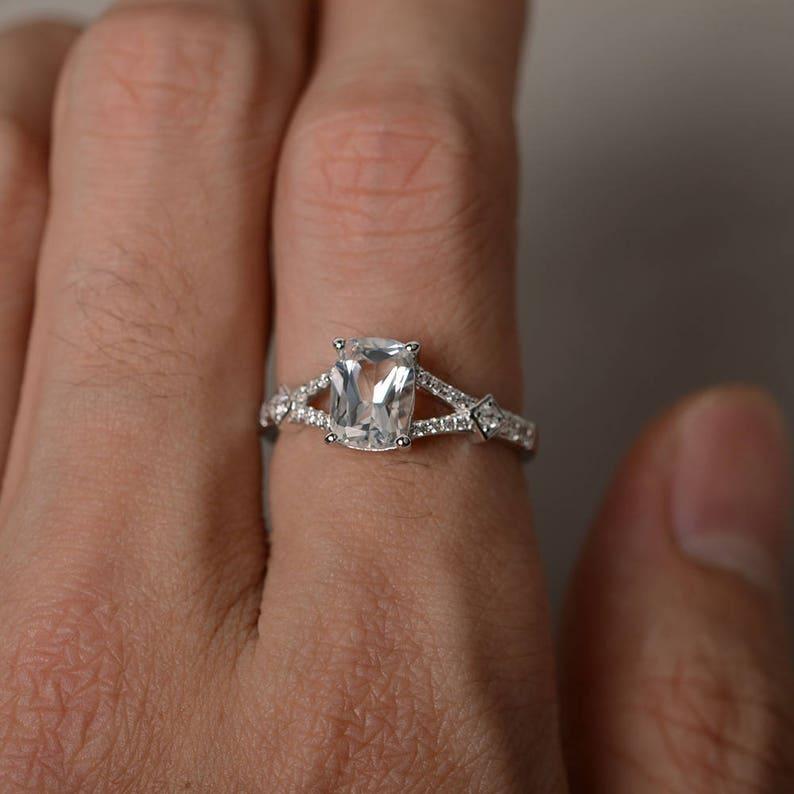 Natural White Topaz Ring Cushion Cut Gemstone Ring Silver Split Band Ring