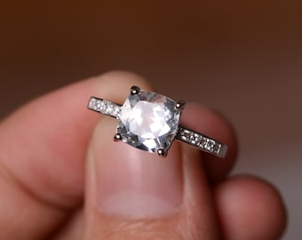 Natural White Topaz Ring Gemstone Silver Ring Engagement Promise Ring For Her