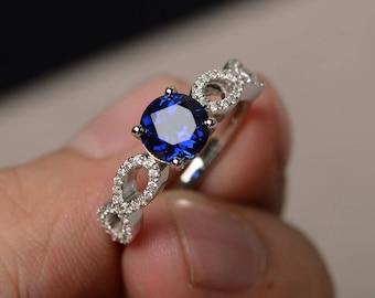 Blue Sapphire Rings Promise Rings September Birthstone Sterling Silver Rings Round Cut Blue Gemstone Vintage Rings