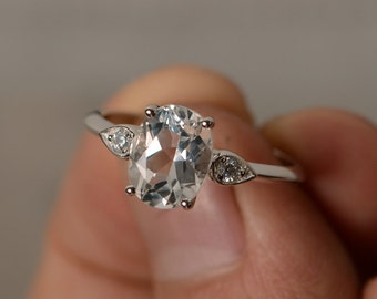 White Topaz Ring Oval Cut Ring Sterling Silver Gemstone Ring