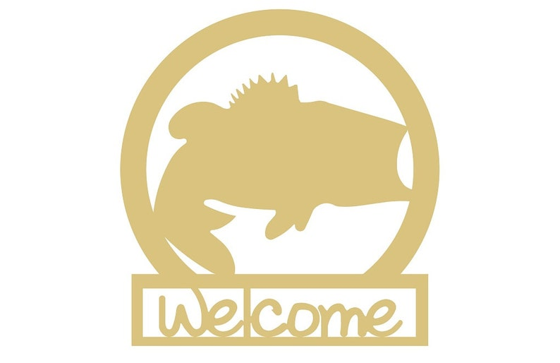 Welcome Sign With Bass Unfinished MDF Wood Cutout Variety of Sizes USA Made Home Decor