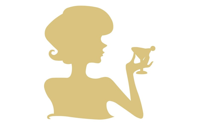 Woman Cutout Unfinished Wood Home Decor Silhouette Wall Hanging Tea Party Decor  Door Hanger MDF Shape Canvas Style 19