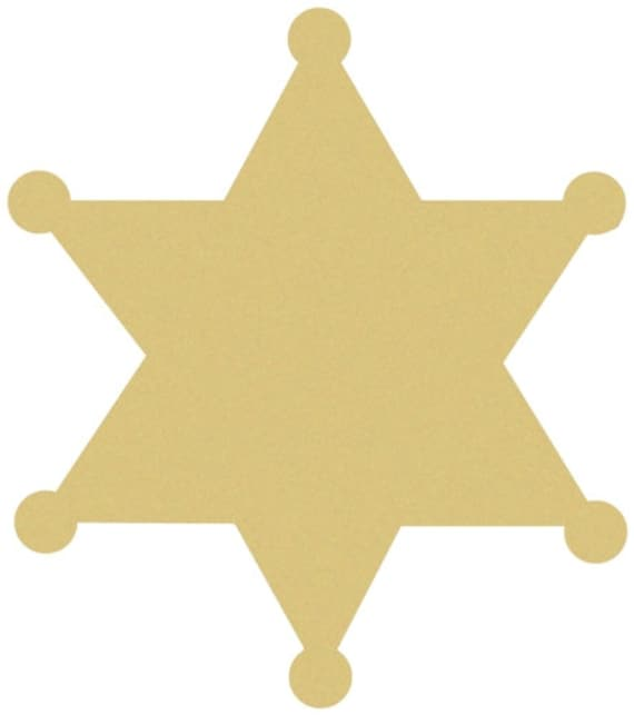 Sheriff Star Unfinished Wood Shape Cut Out Variety Sizes USA Made Western Theme