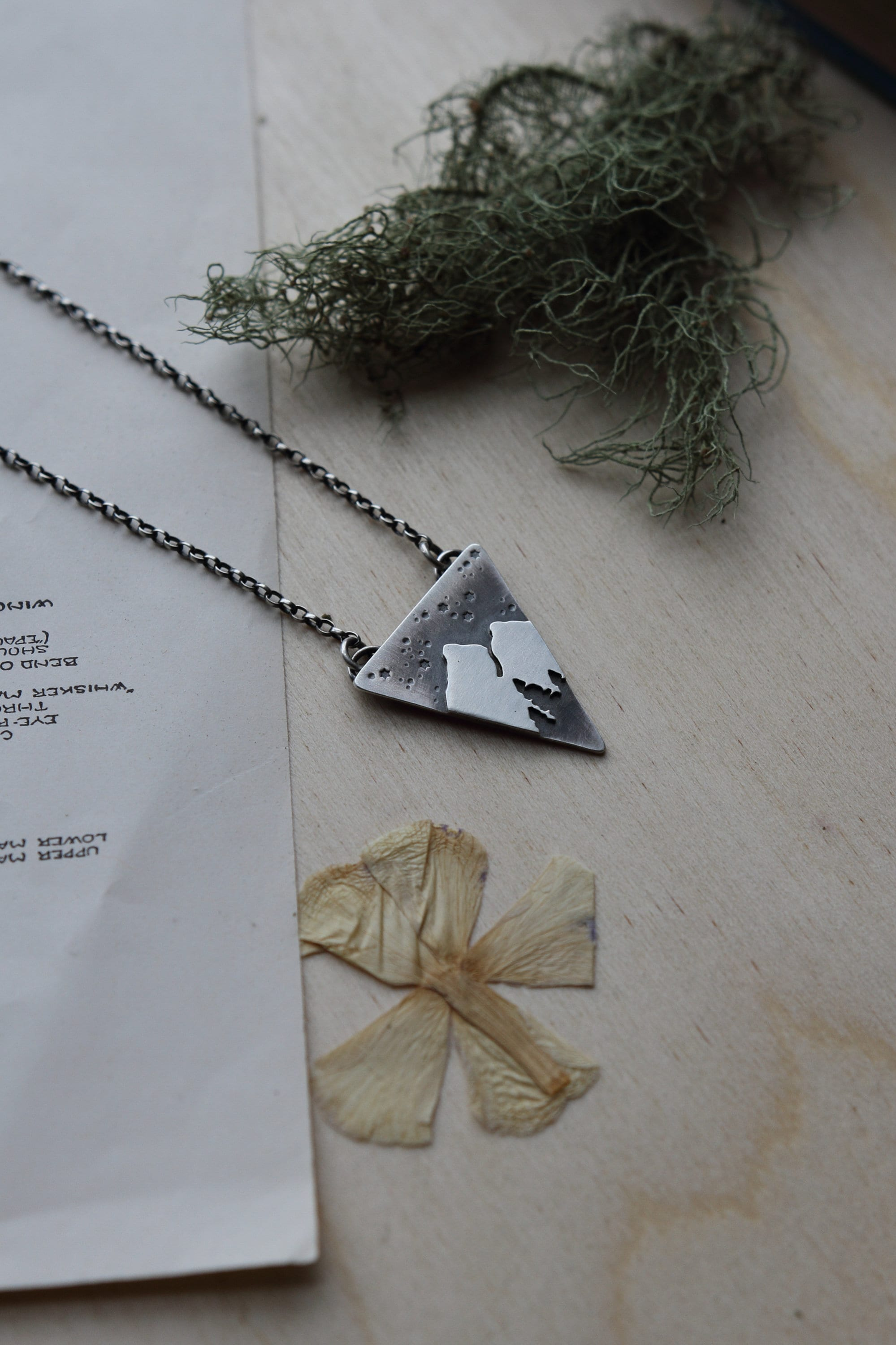 silver mountain necklace forest jewelry nature stars made. Black Bedroom Furniture Sets. Home Design Ideas