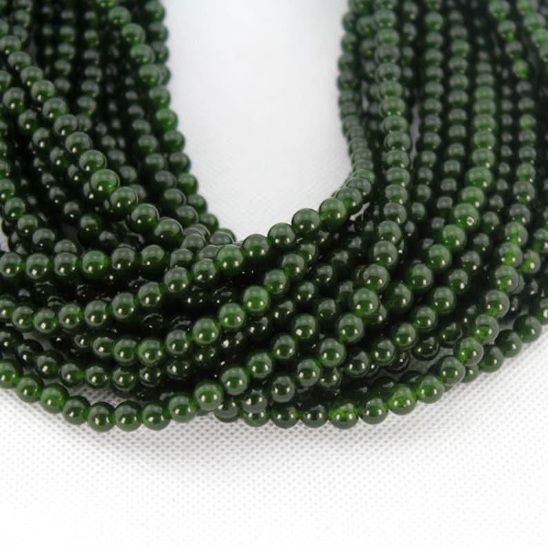6mm Natural gemstone beadsRound Dark Green Jade BeadsJade image 0