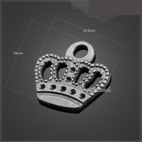 15Pcs Antiqued Silver Tone DIY// Crown Mixed Charms Pendants