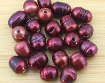 large hole freshwater pearl 2.5 mm hole pearl beads , 10-11mm Rice Pearl Beads wine red colour Pearl Beads 10 pcs-PH006