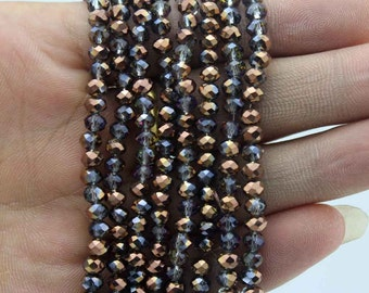 150 Pieces,4mm Sparkle Gray Crystal Beads,Bronze Faceted Crystal Beads,1 Strand,Crystal Beads,Gemstone Beads-CY014