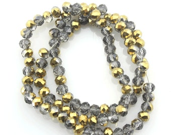 100 Pieces,6mm Sparkle Gray Crystal Beads,Bronze Faceted Crystal Beads,1 Strand,Crystal Beads,Gemstone Beads-BR067