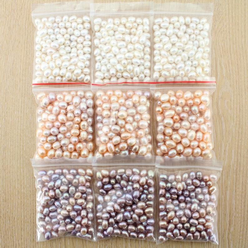 jewelry making,diy pearl, AA 6-7mm  100pcs whitepinkpurple Freshwater Pearl Rice Shape Loose Beads High Quality Loose Pearl Beads