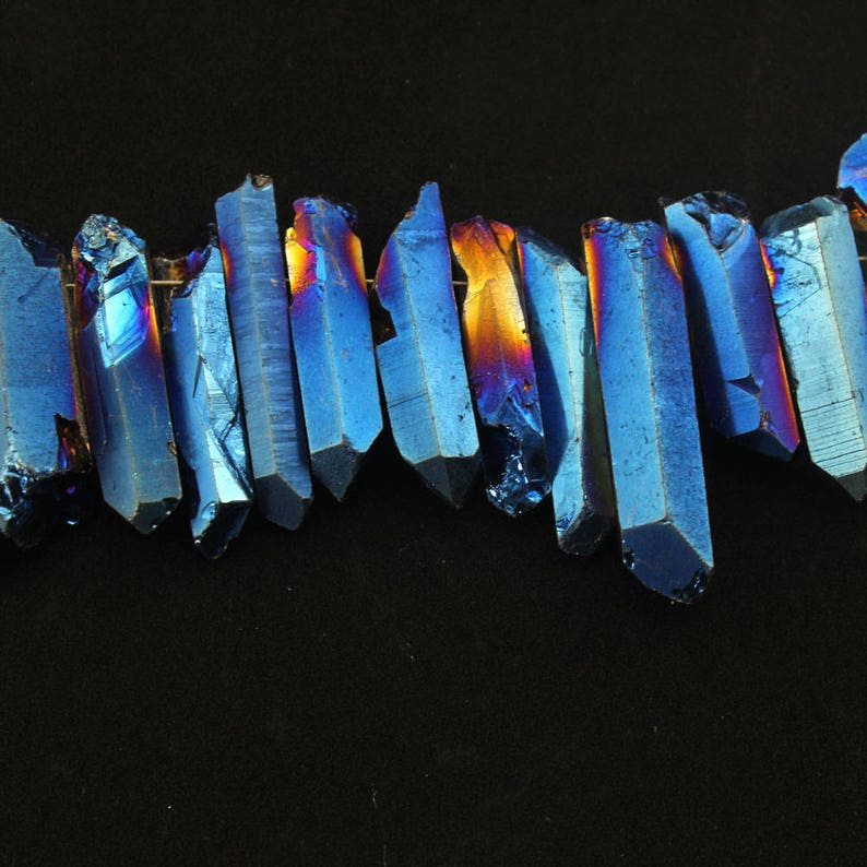 15/%OFF Blue Titanium Quartz Briolettes Stick Point Pendants,Natural Stones Raw Crystals Top Drilled Tusk Spike Bead for Necklace N110