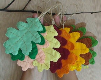 Fall Leaves, Halloween Autumn Wool Decoration, 10 autumn leaf decorations, Fall leaf ornaments, Fall wedding, Thanksgiving decor, oak Leaves