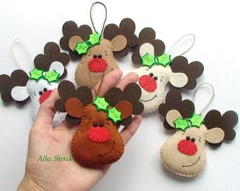 Felt Reindeer  Christmas Decoration  Christmas Rudolph Decoration  Merry Christmas  Christmas felt reindeer Rudolph the red nosed reindeer
