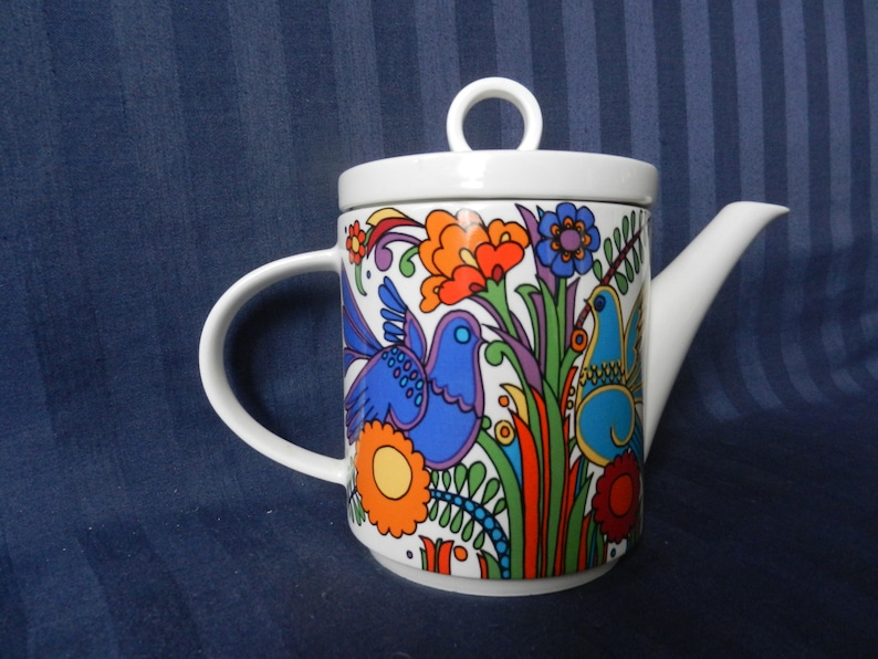 h very near MINT Fabulous teapot by Villeroy and Boch of Luxemburg with famous Acapulco pattern design by Christine Reuter 1967 17,3 cm