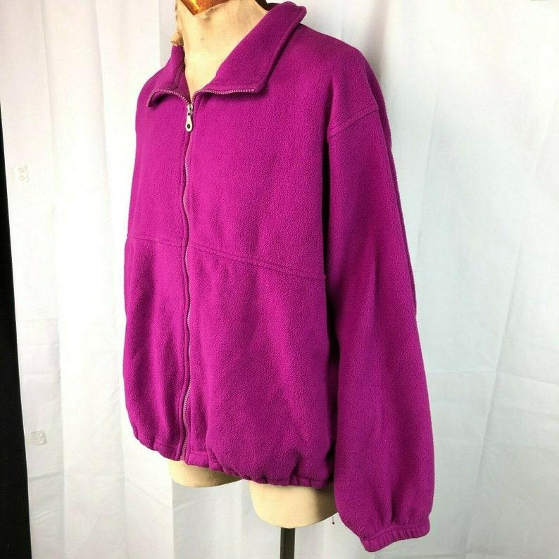 Lands End Polartec Vtg Fleece Full Zip Jacket XL Mens USA Fuschia Magenta Bright