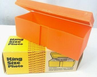 Nega-Tainer Vintage Negative File Orange Plastic Photo Slide Case Box Old Stock 1970s