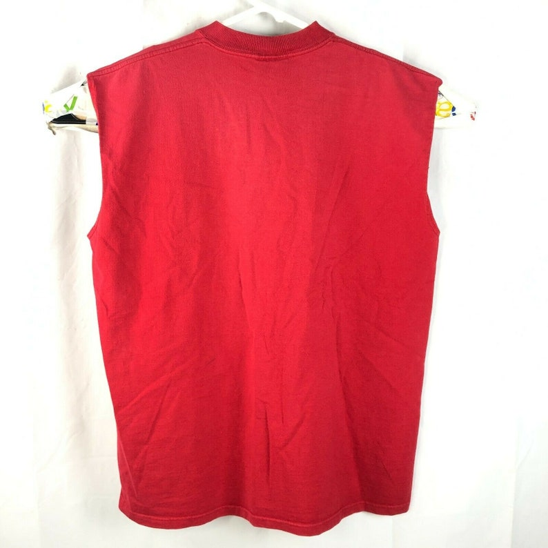 Vintage Russell Athletic Pro Cotton Plain Red Basketball Muscle Shirt Large Mens USA Made 90s