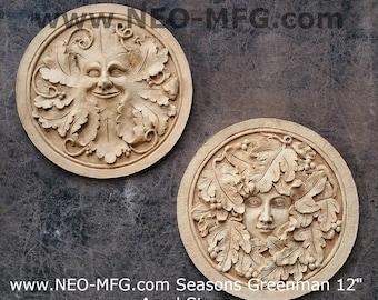 "Nature Seasons Greenman sculpture wall plaque 12"" www.Neo-Mfg.com PAIR"