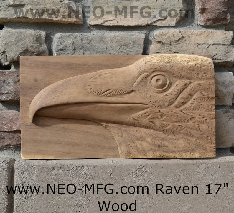 Animal raven bird sculptural wall relief nature carving tile etsy