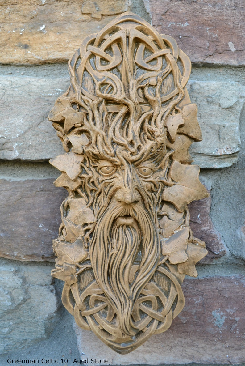 Nature greenman celtic green man wall relief neo mfg etsy
