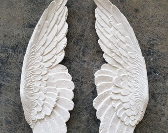"""Angel Wings Aged wall sculpture statue plaque www.Neo-Mfg.com 11"""" p6"""
