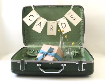 Vintage Green Suitcase / Wedding Card Holder