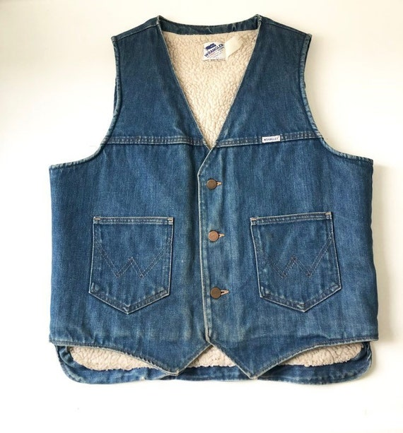Vintage WRANGLER Denim and Sherpa Vest
