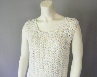 Vintage Pastel Hand Knit Maxi Dress