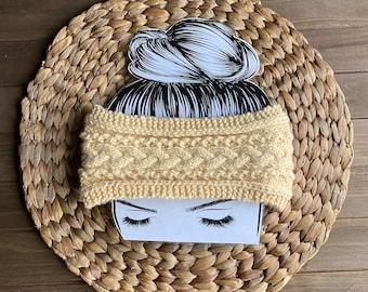 Pale yellow earwarmer, elastic back earwarmer, cable knit earwarmer, gift for her, stocking stuffer, birthday gift, teen gift