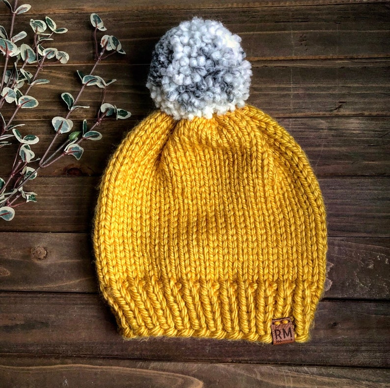 Christmas gif Yarn pom hat winter hat mustard and white winter hat handmade hat gift for her women/'s winter hat wool hat fitted hat