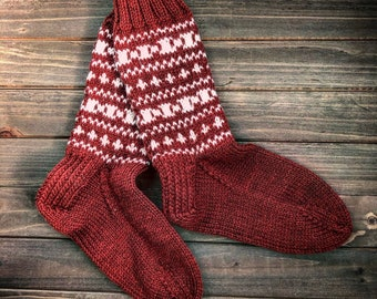 Handmade women's fair isle socks, handmade socks, knit socks, wool socks, red socks, winter socks, warm socks, tall socks