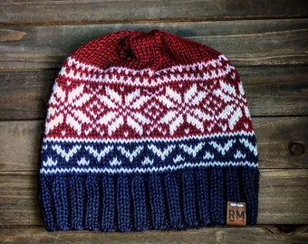 Fair isle knit winter hat, red white and blue hat, for her, for him, patriotic hat, fitted hat, winter beanie, snowflake hat