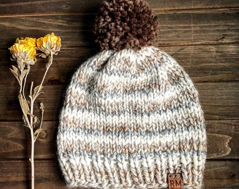 Yarn pom hat, earth tone winter hat, wool hat, handmade hat, winter hat, fitted hat, women's winter hat, gift for her, Christmas gift