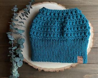 Messy bun beanie, teal blue bun beanie, ponytail hat, fitted hat, crocheted hat, winter hat
