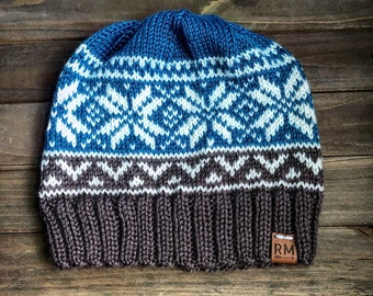 Fair isle knit winter hat, teal brown and white hat, for her, for him, fitted hat, winter beanie, snowflake hat