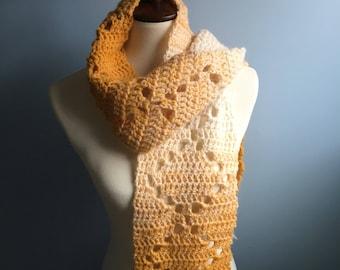 HANDMADE Mustard Scarf. Ombré Yellow. Long Scarf. Wool Scarf.