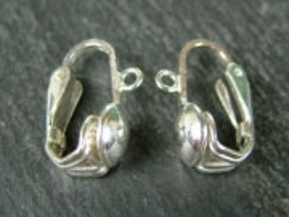 Sterling Silver Earring Lever Back Clip Ear Wires Continental Fittings Shield