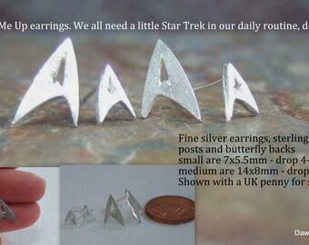 Star Trek inspired fine silver 'communications badge' stud earrings