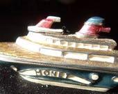 Monet Retired Trinket Stash Ring Box CRUISE SHIP Enamel Interior Hinged Marked Ocean Liner Boat Natuical