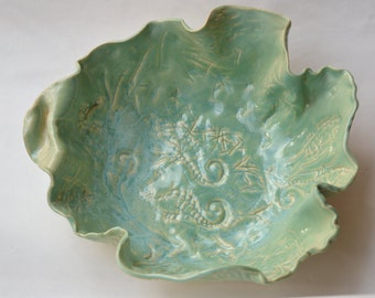 Seahorse pottery bowl / centerpiece / beach pottery / turquoise blue pottery / house warming gift for beach house / wedding gift / birthday